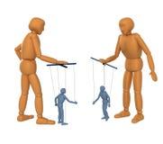 3D Marionetten - mensen, het leiden poppen - marionetten Stock Foto's