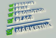 3d marketing mix concept with keywords Royalty Free Stock Photo