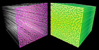 3D maze. 3d  rendered illustration of a golden maze on white background Royalty Free Stock Photos