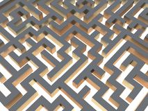 3d maze. A 3d image of a maze on an illuminated floor Royalty Free Stock Image