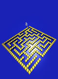 3D Maze. Golden 3D maze with copy-space Royalty Free Stock Images