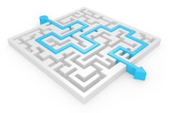 3D Maze with blue arrow Stock Photography