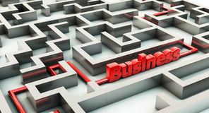 3d maze and business Stock Photos