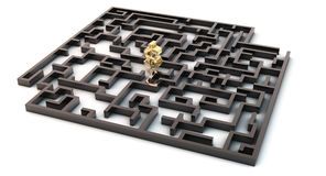 3d maze and dollar symbol. Black Maze  with golden dollar sign in the middle Stock Photo