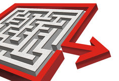 3d maze with exit. Angled view of three dimensional maze with red arrow pointing away from exit, isolated on white background royalty free illustration