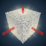 3d maze - framgångsfelbegrepp Vektor Illustrationer