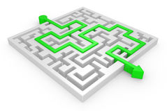 3D Maze with green arrow Stock Photos