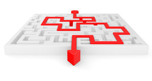 3D Maze with red arrow Royalty Free Stock Photos