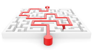 3D Maze with red arrow Stock Images