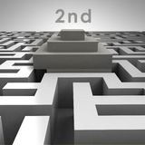 3D maze structure and second place podium Royalty Free Stock Photo