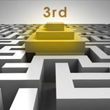 3D maze structure and third place podium. Illustration Royalty Free Stock Image