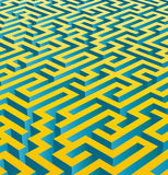 3D maze (vector). 3d rendered illustration of a golden vector maze on white background Royalty Free Stock Photo