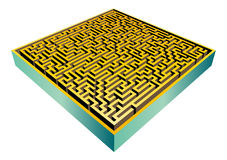 3D maze (Vector). Vector 3d rendered illustration of a golden maze on white background Royalty Free Stock Images