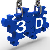 3D Means 3Dimensional High Definition Entertainment Vision Stock Image