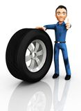 3D Mechanic changing a tire Stock Images
