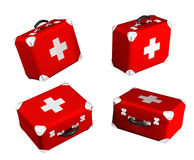3d medical box. 3d medical red box on white background Stock Photography