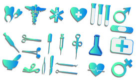 3d medical signs set Stock Photos
