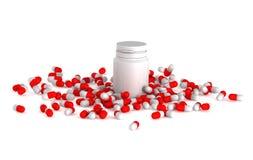3d medische pillen met fles Royalty-vrije Stock Afbeeldingen