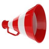 3D Megafoon… Retro megafoon in rode en witte kleuren die op witte achtergrond worden geïsoleerde. Vector Illustratie