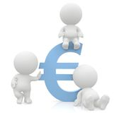 3D men around a euro sign Royalty Free Stock Image