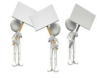 3D men and blank boards Royalty Free Stock Images