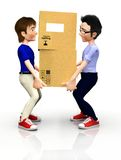 3D men with boxes Stock Photography