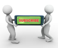 3d men carrying subscribe button. 3d men carrying reflective button with text 'subscribe Stock Photos