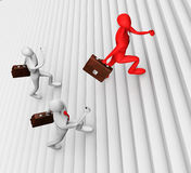 3d men climbing the ladder. 3d man climbing the ladder and his defeated competitors Stock Photo