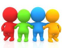 3D men - Colored group of friends Royalty Free Stock Photography