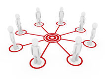 3d men connection. 3d human men connection team teamwork circle red Stock Photo