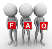 3d men faq. 3d men holding cube 'faq' frequently asked question vector illustration