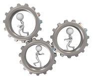 3d men and gears Stock Photos