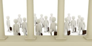 3d men going to bank. 3d men with suitcases walking towards bank building Royalty Free Stock Photo