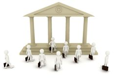 3d men going to bank. Lots of 3d men going to bank. Symbolic view of debt, loan and richness Royalty Free Stock Photos