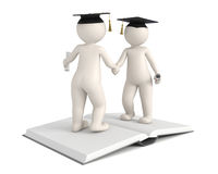 3d men - Graduation - Gratulation. Two 3d characters shaking hands and congratulate for each others graduation Stock Image