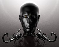 3D men head. With two metal scorpions Stock Image