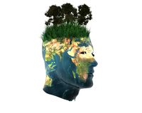3D men head with earth texture Royalty Free Stock Photo