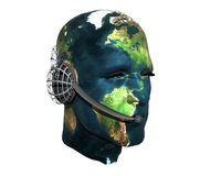 3D men head with earth texture Stock Photo