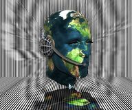 3D men head with earth texture Royalty Free Stock Images