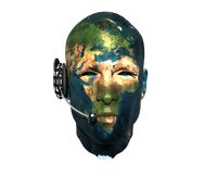 3D men head with earth texture with headphone Royalty Free Stock Photography