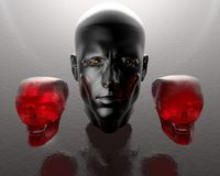 3d men head with two glass skulls. 3d men head with two red glass skulls Stock Photo