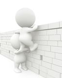 3D men jumping a wall Royalty Free Stock Images