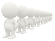 3D men in line Royalty Free Stock Image