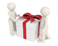 3d men opening a gift box. 3d men opening a white gift box - Isolated - DOF Stock Photo