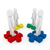 3d men puzzle teamwork. Red blue green yellow Stock Images