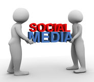3d men with 'social media' Royalty Free Stock Image