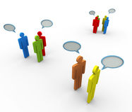 3d men speech bubble. 3d people in group with speech bubble. Concept of online group discussion, forum, chat, social network etc Royalty Free Stock Images