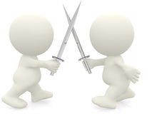 3D men with swords Stock Photography