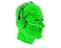 3D men textured face with headphone Royalty Free Stock Image