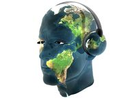 3D men textured face with headphone Royalty Free Stock Photo